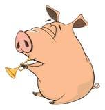 Illustrazione di un fumetto del maiale-musicista Fotografia Stock Libera da Diritti