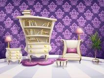 Illustrazione di un gabinetto del libro del fumetto con mobilia bianca per piccole principesse Immagini Stock
