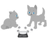 Illustrazione di un gattino circa per mangiare alimento fotografia stock