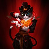 Illustrazione di un gatto con le carte da gioco illustrazione vettoriale
