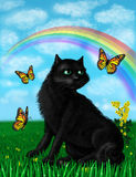Illustrazione di un gatto nero un giorno soleggiato Immagini Stock Libere da Diritti