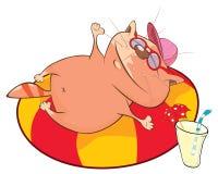 Illustrazione di un gatto sveglio Personaggio dei cartoni animati Immagini Stock