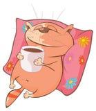 Illustrazione di un gatto sveglio Personaggio dei cartoni animati Fotografie Stock Libere da Diritti