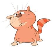 Illustrazione di un gatto sveglio Personaggio dei cartoni animati Immagine Stock