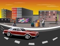 Illustrazione di un ghetto con le persone di colore illustrazione di stock