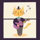 Illustrazione di un giocatore di chitarra Le professioni del gatto Fotografia Stock