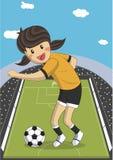 Illustrazione di un giocatore di football americano femminile di calcio Illustrazione Vettoriale