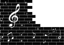 Illustrazione di un graffito del grunge con le note di musica Fotografia Stock Libera da Diritti