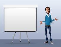 Illustrazione di un impiegato di ufficio che mostra lo schermo della compressa per le applicazioni di presentazione Immagini Stock Libere da Diritti