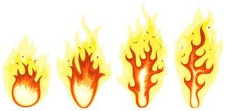 Fuoco del fumetto e fiamme brucianti messi Fotografia Stock Libera da Diritti