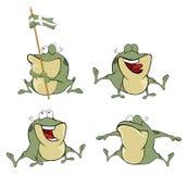 Illustrazione di un insieme delle rane verdi del fumetto sveglio Fotografia Stock Libera da Diritti