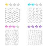 Illustrazione di un insieme di 4 labirinti degli esagoni per i bambini ai livelli differenti di complessità royalty illustrazione gratis