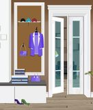 Illustrazione di un interno di uno spogliatoio con i vestiti e una porta di entrata immagine stock