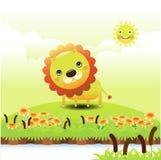 Illustrazione di un leone divertente con il posto per testo Fotografie Stock