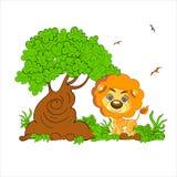 Illustrazione di un leone spaventoso la foresta Fotografie Stock Libere da Diritti