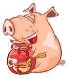 Illustrazione di un maiale sveglio Personaggio dei cartoni animati Immagine Stock Libera da Diritti