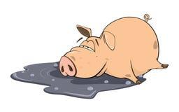Illustrazione di un maiale sveglio personaggio dei cartoni animati