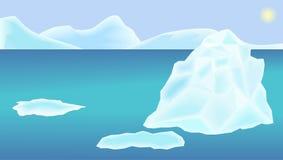 Illustrazione di un oceano, un iceberg e le banchise, un cielo e un sole del paesaggio Immagine Stock