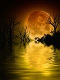 Illustrazione di un paesaggio della luna piena Immagine Stock Libera da Diritti