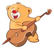Illustrazione di un personaggio dei cartoni animati farcito del bassista di Toy Bear Cub Violinist Jazz Fotografia Stock