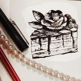 Illustrazione di un pezzo di dolce disegnato con una matita fotografia stock libera da diritti