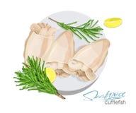 Illustrazione di un piatto della seppia con il limone ed i rosmarini su un piatto Seppia cucinata Icona, logo, simbolo squisitezz Immagini Stock