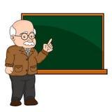 Illustrazione di un professore o di un insegnante ad una lavagna Immagine Stock