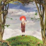 Illustrazione di un ragazzo in giardino royalty illustrazione gratis