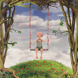 Illustrazione di un ragazzo in giardino illustrazione di stock