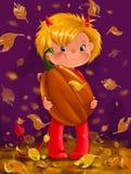 Illustrazione di un ragazzo di Halloween in costume con la zucca Immagini Stock