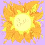 Illustrazione di un sole giallo con un posto per il vostro testo Immagine Stock