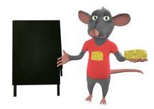 Illustrazione di un topo del fumetto che mostra spazio in bianco Fotografia Stock