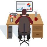 Illustrazione di un uomo alla tavola con un computer su un fondo bianco Fotografia Stock