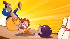 Illustrazione di un uomo che getta una palla da bowling sul campo da gioco, un uomo che gioca bowling e che cade dietro una palla fotografia stock libera da diritti