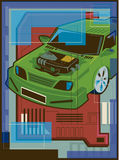 Illustrazione di un veicolo ibrido Fotografia Stock Libera da Diritti