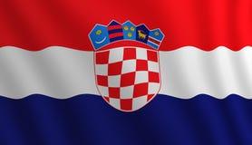 Illustrazione di una bandiera croata volante chiarita dalla destra immagini stock libere da diritti