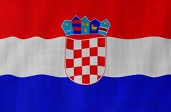 Illustrazione di una bandiera croata volante chiarita dalla destra fotografie stock libere da diritti