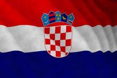 Illustrazione di una bandiera croata volante immagini stock