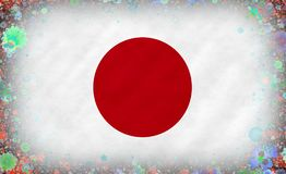 Illustrazione di una bandiera giapponese con un modello del fiore Fotografia Stock