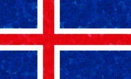 Illustrazione di una bandiera islandese con un modello di fiore fotografie stock libere da diritti