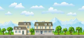Illustrazione di una casa classica della famiglia Fotografie Stock Libere da Diritti