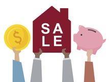 Illustrazione di una casa da vendere illustrazione vettoriale