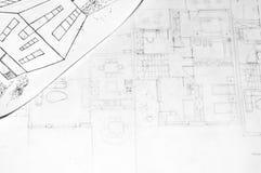 Illustrazione di una casa e dei programmi di architettura Immagini Stock Libere da Diritti