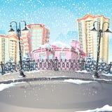 Illustrazione di una città di inverno Fotografie Stock