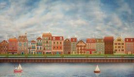 Illustrazione di una città sveglia sul fiume royalty illustrazione gratis