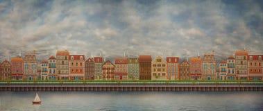 Illustrazione di una città sveglia sul fiume illustrazione vettoriale