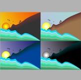 Illustrazione di una collezione di viste del cielo e del sole illustrazione di stock
