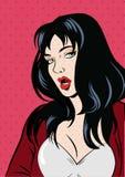 Illustrazione di una donna di Pop art nel rosso Vettore Immagine Stock