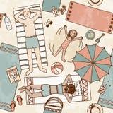 Illustrazione di una famiglia che si trova alla spiaggia Fotografia Stock Libera da Diritti