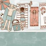 Illustrazione di una famiglia che si trova allo stagno Fotografia Stock Libera da Diritti